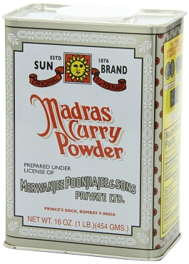 Madras Curry Powder by Sun Brands, 1 Lb. Tin -Shipping Included