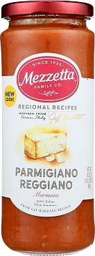 MEZZETTA Parmigiano Reggiano Marinara, 16.25 oz Glass Jars, Case of Six Jars