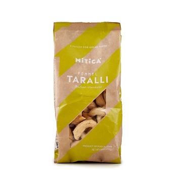 Mitica Taralli with Fennel, 8.8 oz Bag, Case of 12 Bags