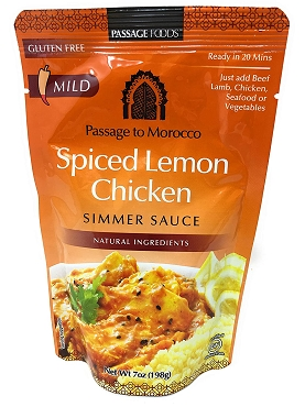 Passage Foods Spiced Lemon Chicken Simmer Sauce, Case of Six 7 oz Pouches
