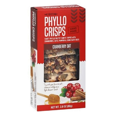 Nu Bake Cranberry Oat Phyllo Crisps, Case of 12 Boxes(2.8 Oz ea.)
