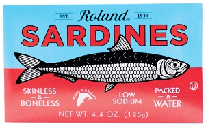 Skinless & Boneless Low Sodium Sardines in Water, Case Pack of Ten 4.3 Oz Tins