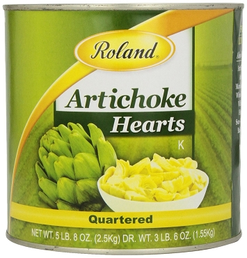 Roland Quartered Artichoke Hearts, 5.5 LB Can, Pack of Two #10 Cans.
