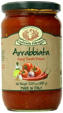 RUSTICHELLA D'ABRUZZO ARRABBIATA SPICY TOMATO SAUCE  23.9 Oz(680g) Glass Jars, Pack of Three Jars