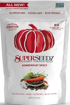 SUPERSEEDZ NO SHELL PUMPKIN SEEDS, SPICY, 5 OZ BAG, Case of Six Bags
