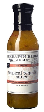 Tropical Tequila Sauce, 14 Oz Bottles, Case of Six Glass Bottles
