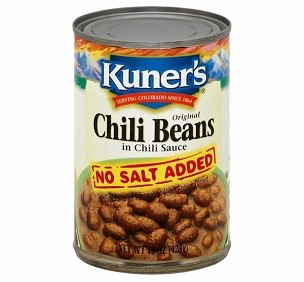 Kuner's Original Chili Beans in Chili Sauce, No Salt Added -15 oz, Case of 12 Ca
