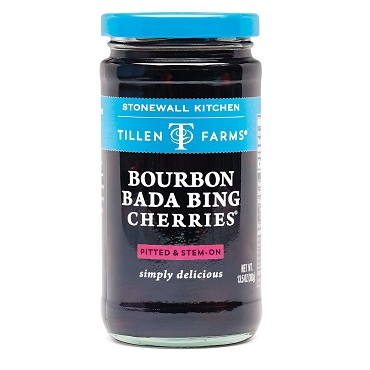 Tillen Farms Bourbon Bada Bing Cherries, 13.5 oz Jars, Case of Six Glass Jars