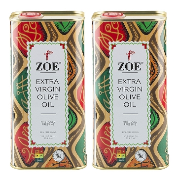 ZOE Extra Virgin Olive Oil, 1 Liter(33.8 OZ) Tin (Pack Of 2 Tins)