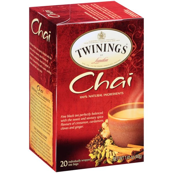 Twinings of London Chai Tea -Six Boxes of 20 Tea Bags. 120 Total Servings!