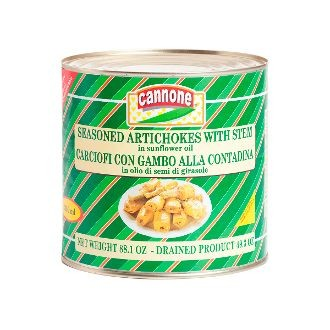 Cannone Seasoned Artichokes with Stems - 88.1 oz Food Service Tin