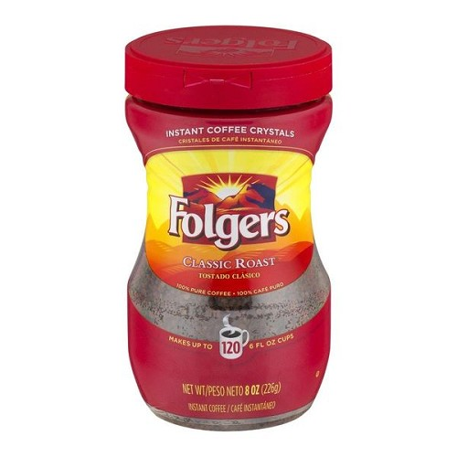 Folgers Instant Coffee Crystals Classic Roast, 8 OZ Jar, Case of Six Jars
