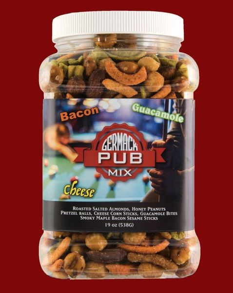 Germack Pub Mix: Bacon, Guacamole, Cheese, Nuts - Six- 19 Oz Jars