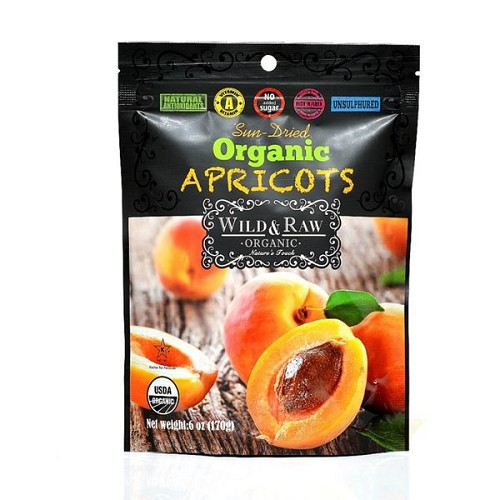 Wild & Raw Sun-dried Organic Turkish Apricots, 24 - 5 Oz pouches